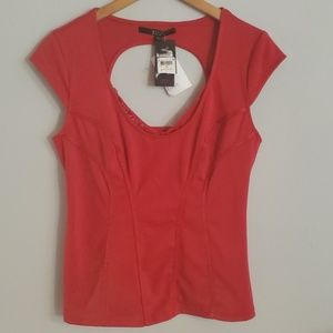 Guess Claudia top Shirt New Red Hot XL $68
